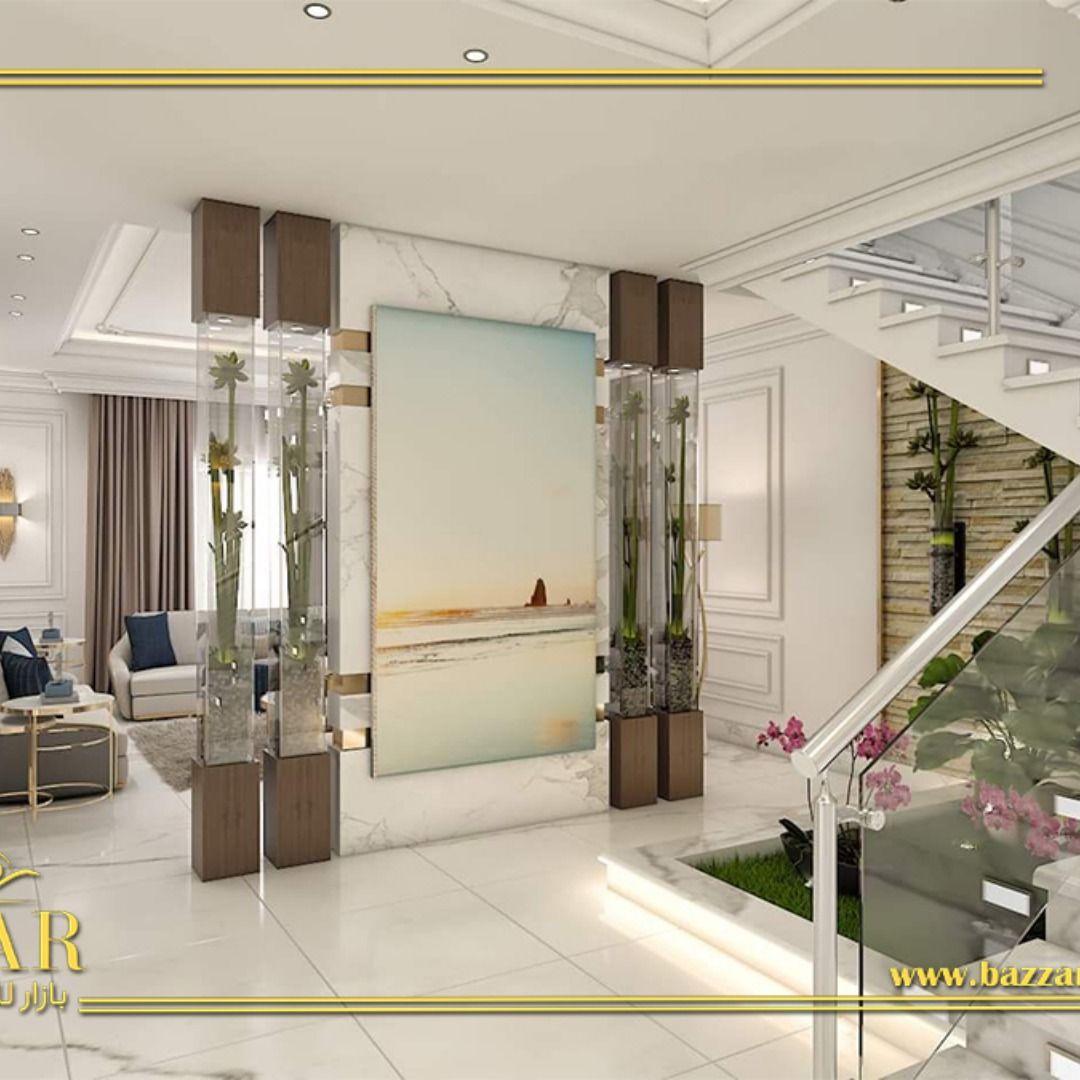 ممر مميز وأنيق بداية من الأرضية البورسلين والتي تعد عنوان أناقة هذا التصميم مرورا بلون الجدارن وتوزيع الإضاءات في السقف والجدران وتأتي الم Design Home Mirror