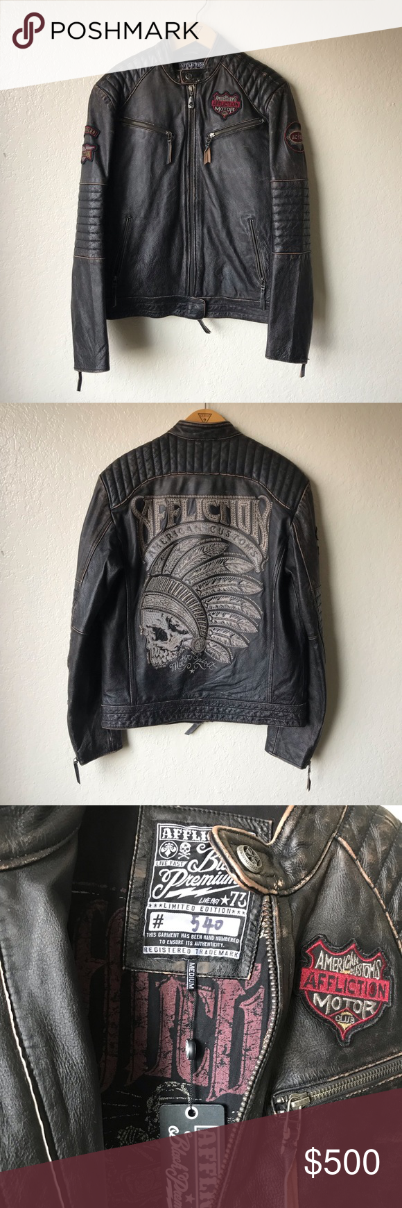 NWT Affliction Leather Jacket Men's Sz M •Size M •Open to