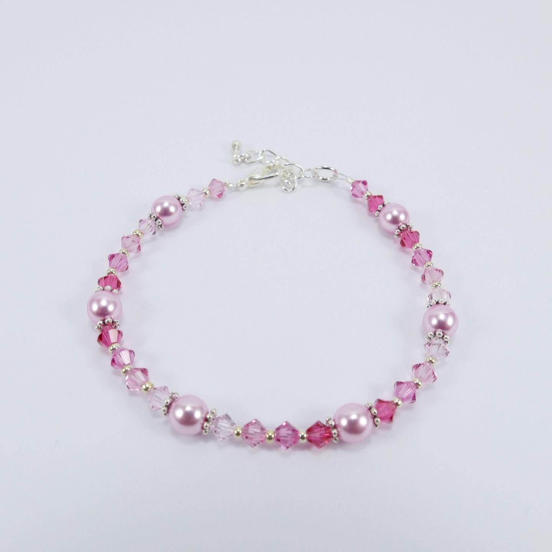 Bracelet en perles toupies 4mm Swarovski et perles Renaissance ...