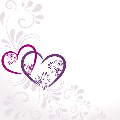 elegant heart with floral background vector 02 free