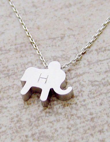 b4e9291d7a53 Initial tiny elephant necklace