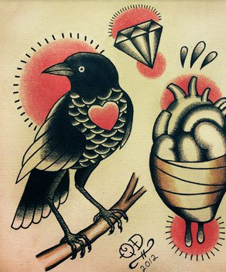 a71042ebd tattoo flash - traditional - raven   Under your skin...   Tattoos ...