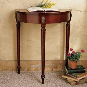 Bombay Company Antique Cherry Wood Demilune Half Moon Circle Table Foyer Accent Circle Table Demilune Table