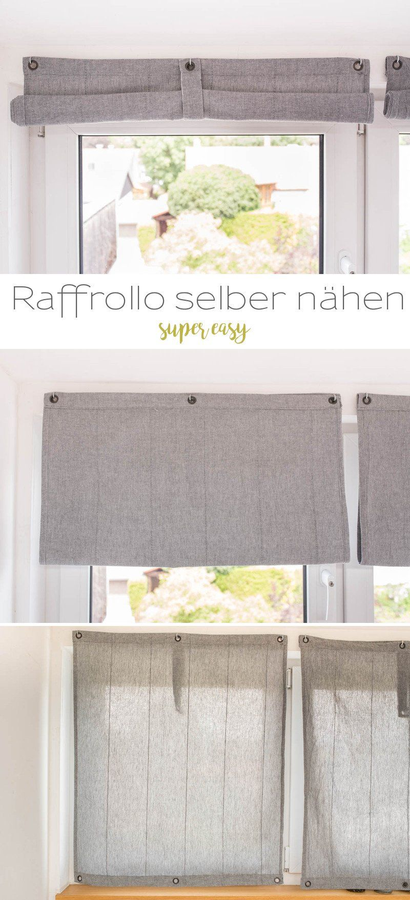 diy einfache raffrollos selber n hen n hen pinterest n hen raffrollo n hen und gardinen. Black Bedroom Furniture Sets. Home Design Ideas