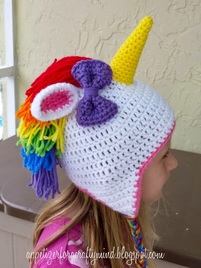 A really fun rainbow crochet unicorn hat. Links to free patterns ...