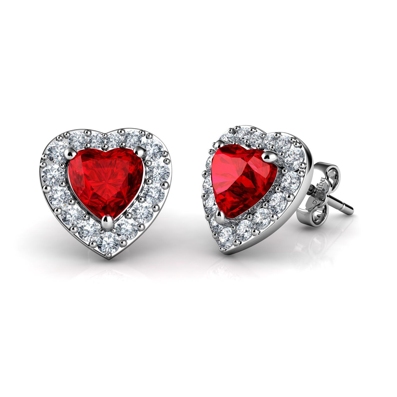 Dephini Red Heart Earrings 925 Sterling Silver Stud
