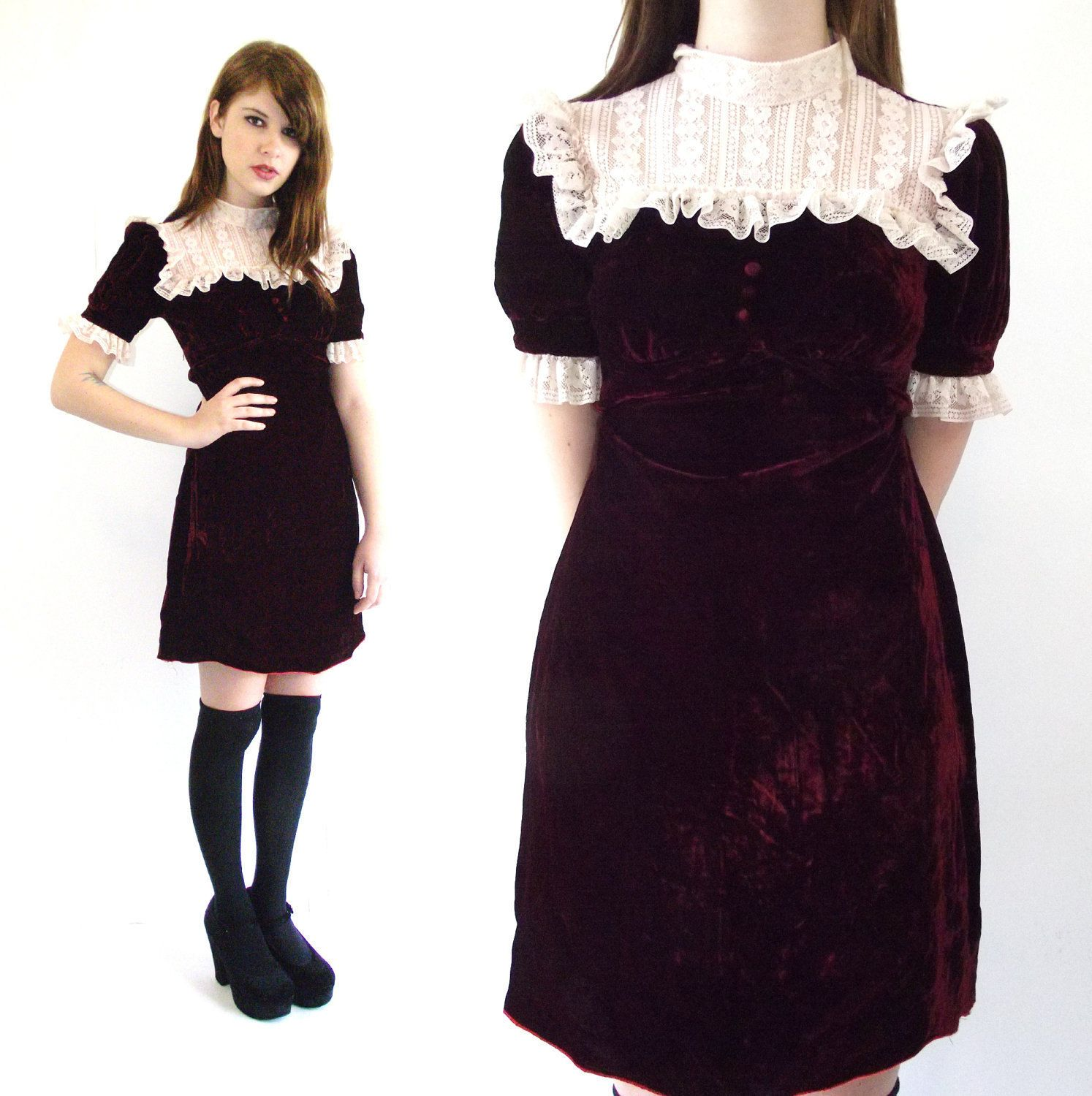 Vintage 60s Mod Wine Velvet And Lace Mini Babydoll Dress