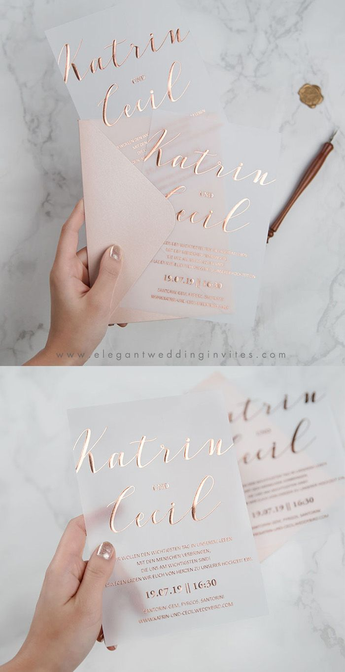 impression de feuille d'or rose à la mode sur des invitations de mariage de papier vélin   – wedding details