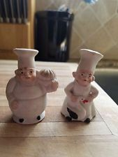 Vintage Ceramic Bisque Chef Salt and Pepper Shakers