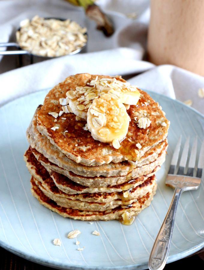 Quick Oatmeal-Banana Blender Pancakes (Gluten Free, Dairy Free) | Recette | Pancake avoine ...
