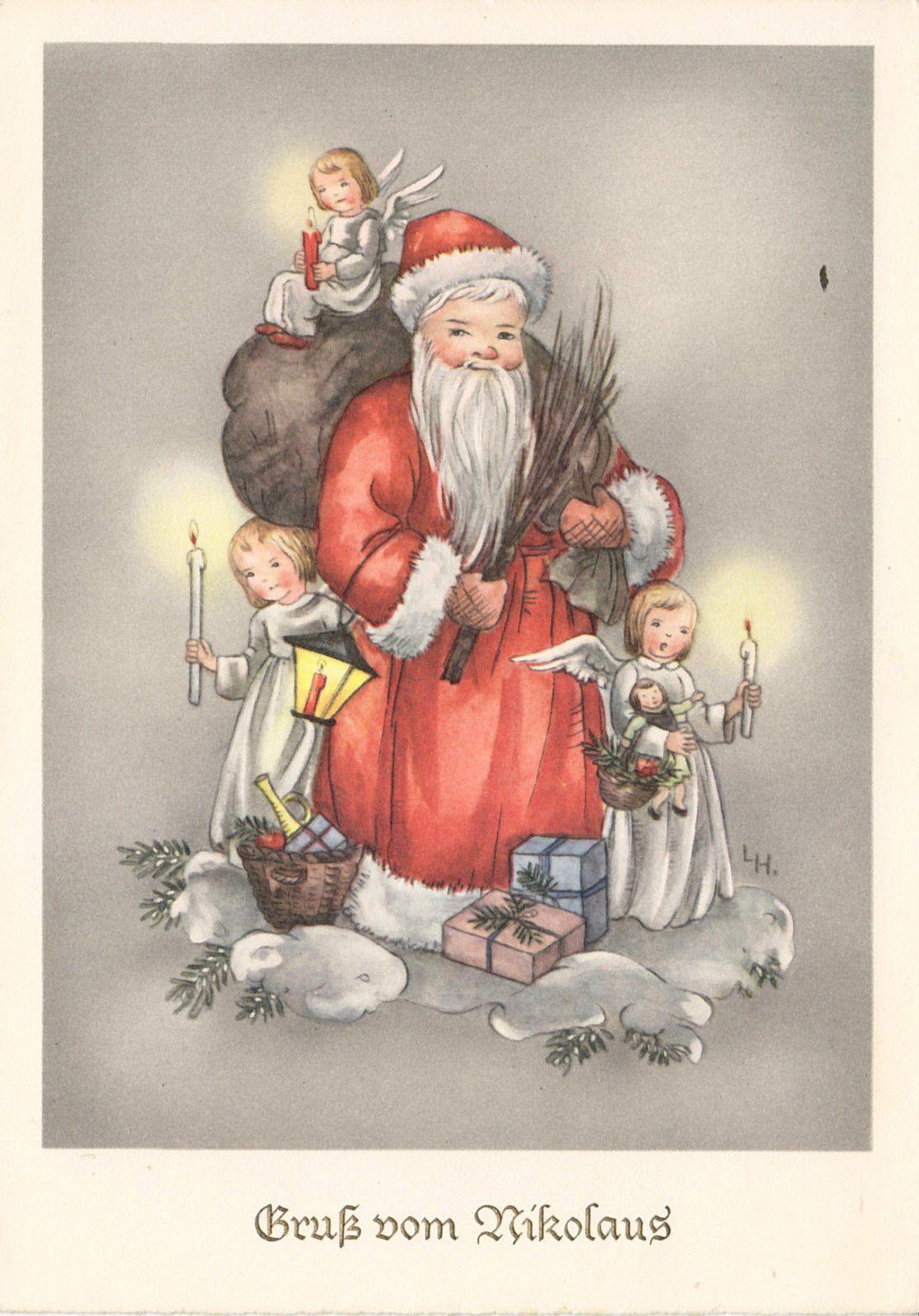 WEIHNACHTEN -Gruß vom Nikolaus mit Engelchen, blanco | eBay ...