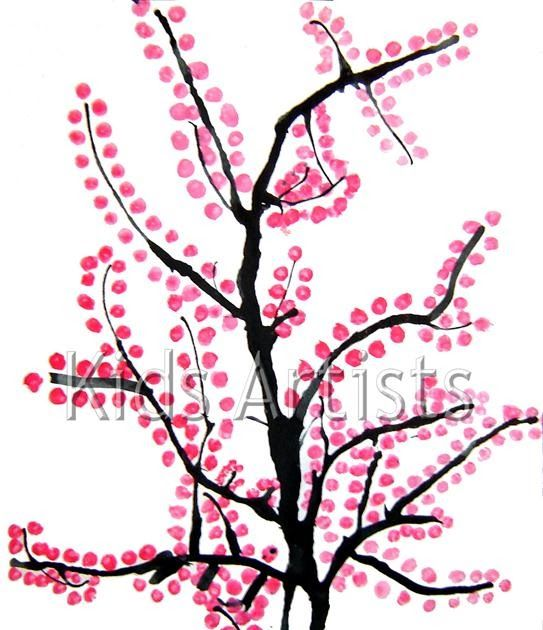 Made by Brittany, 12 years old   You need: white drawing sheet A4 size Indian ink straw pink tempera paint (or red and white) saucer Q-tip F...
