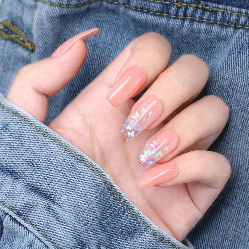 Iridescent Butterfly Glitter Clear Nails Fake Nails Coffin Nails Designs