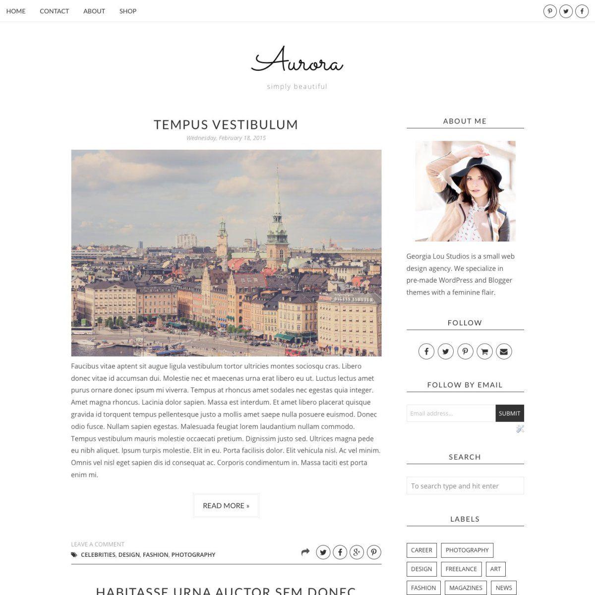Aurora Full Blogger Template