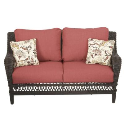 Charming Hampton Bay Woodbury All Weather Wicker Patio Loveseat With Chili Cushion