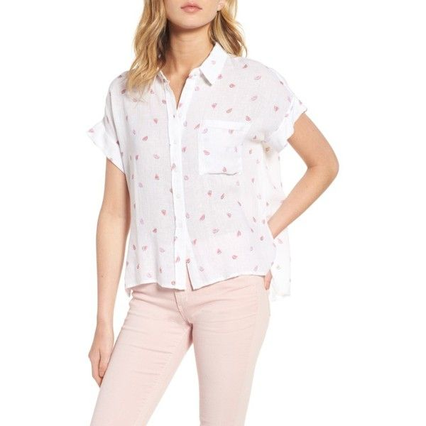 fa063507 Women's Rails Whitney Watermelon Print Shirt ($138) ❤ liked on Polyvore  featuring tops, watermelon print, shirt crop top, button down crop top,  white tops, ...