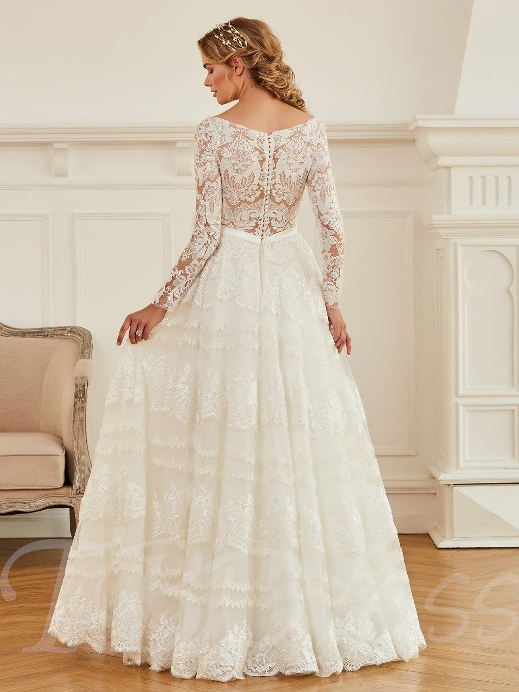 Buttoned back vneck lace long sleeve wedding dress in