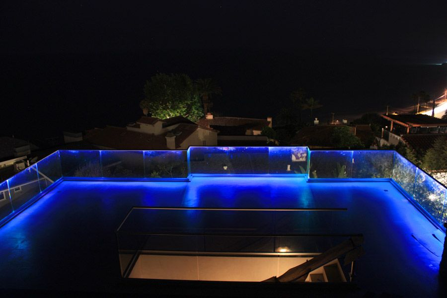 Lovely Lighting Ideas, Deck Glass Railing Lighting Ideas With Blue Led Lights: Get  The Right Feel With Right Lighting