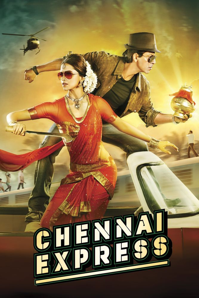 Chennai Express Poster Artwork Deepika Padukone Shahrukh Khan Sathyaraj Movie Poster Artwork Finder Chennai Express Hindi Movies Best Bollywood Movies