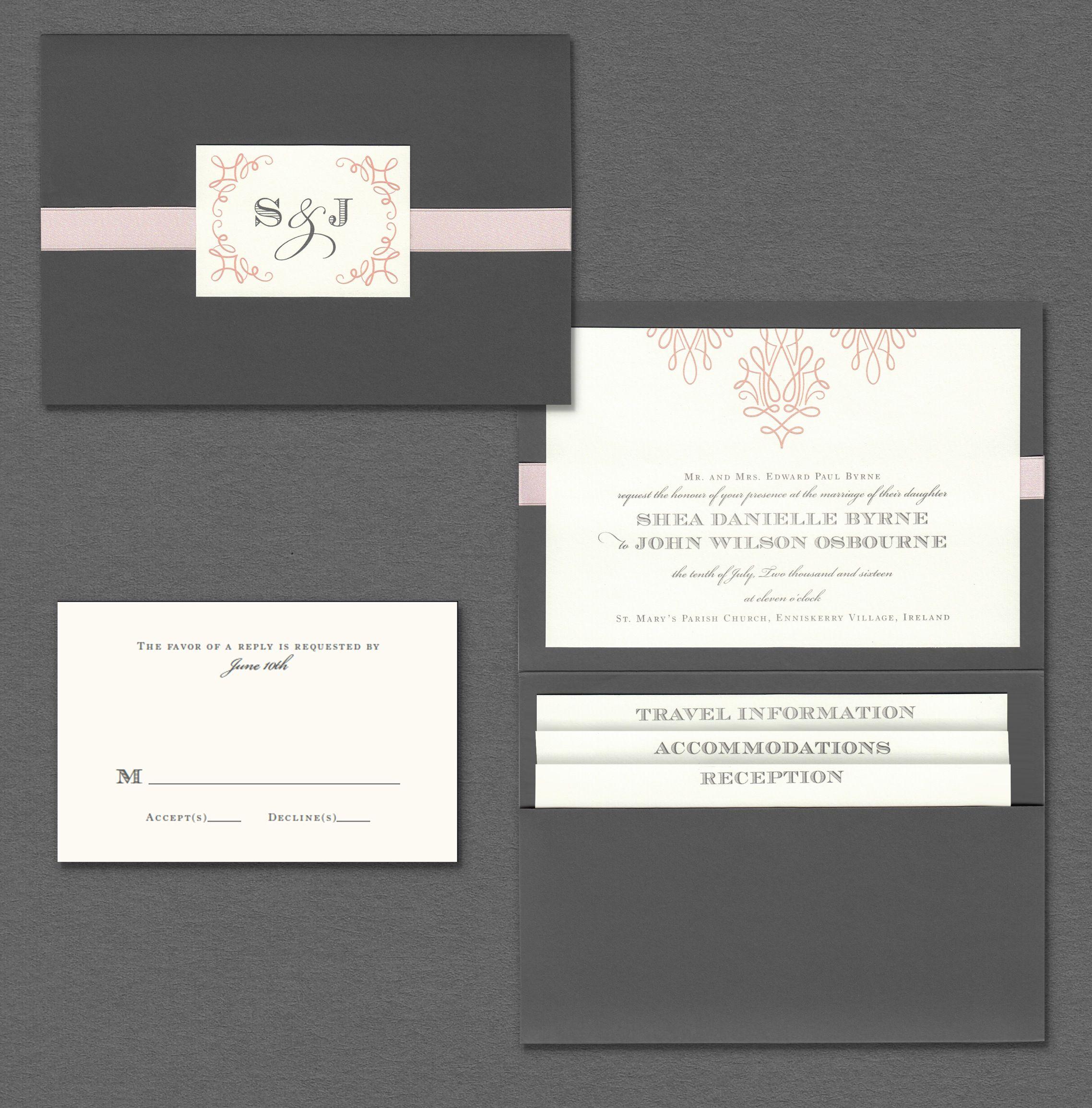 Vera Wang pewter folder wedding invitation suite. | Wedding ...
