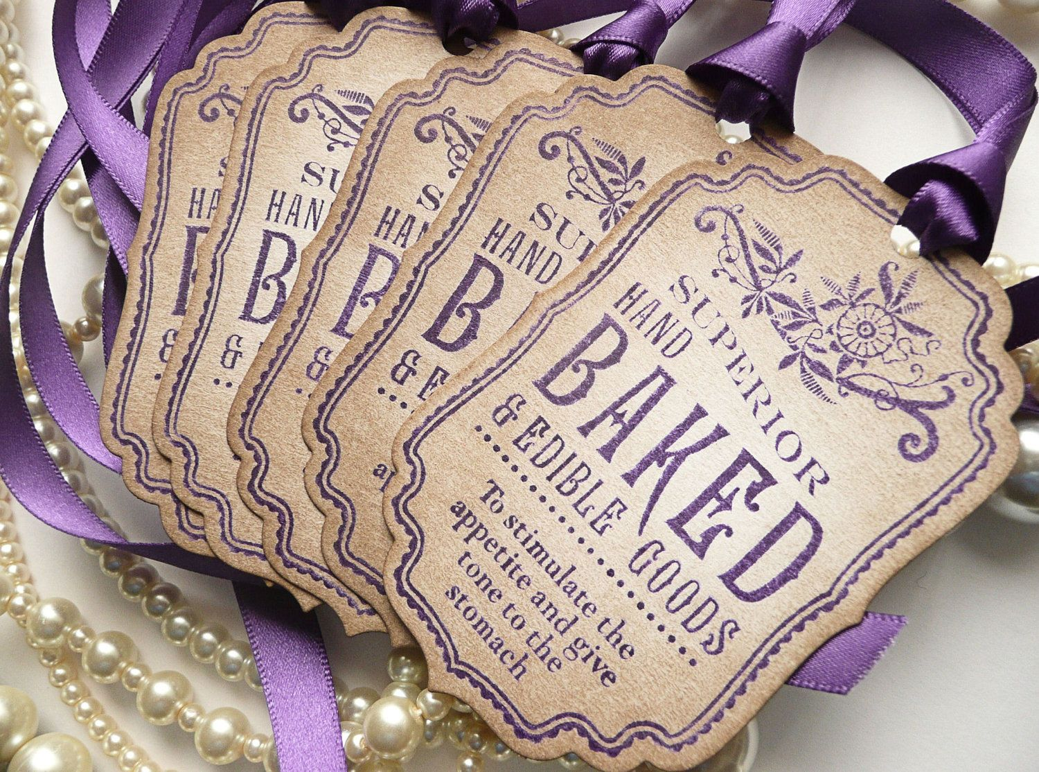 printable wedding place cards vintage%0A Baked Goods Decoration Tags  Purple Vintage Style  Ideal Wedding Favor  Tags  Cookies