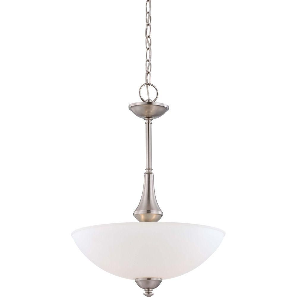 Illumine 3 Light Brushed Nickel Pendant With Frosted Glass Shade