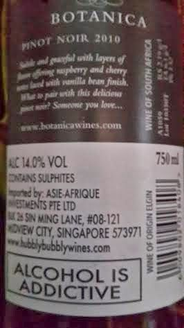 Miguel Chan Wine Journal: Botanica Pinot Noir 2010 87 Points