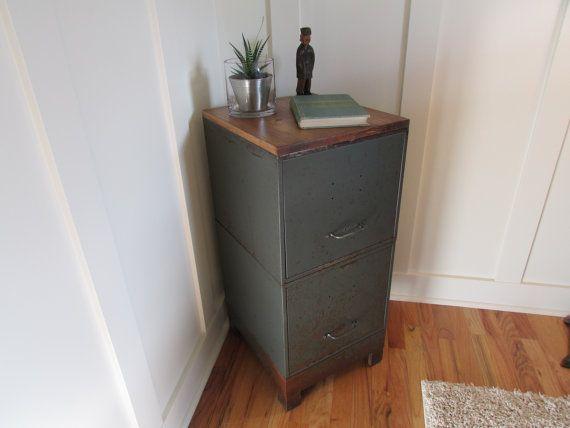 On Hold For Pr Vintage 2 Drawer Metal File Cabinet End Table Side