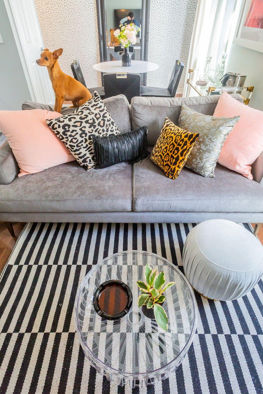 Couch #grey #velvet #animal #print #leopard #zebra #cheetal #pink #black #leather #… | Top Interior Design Firms, Interior Design Companies, Top Interior Designers
