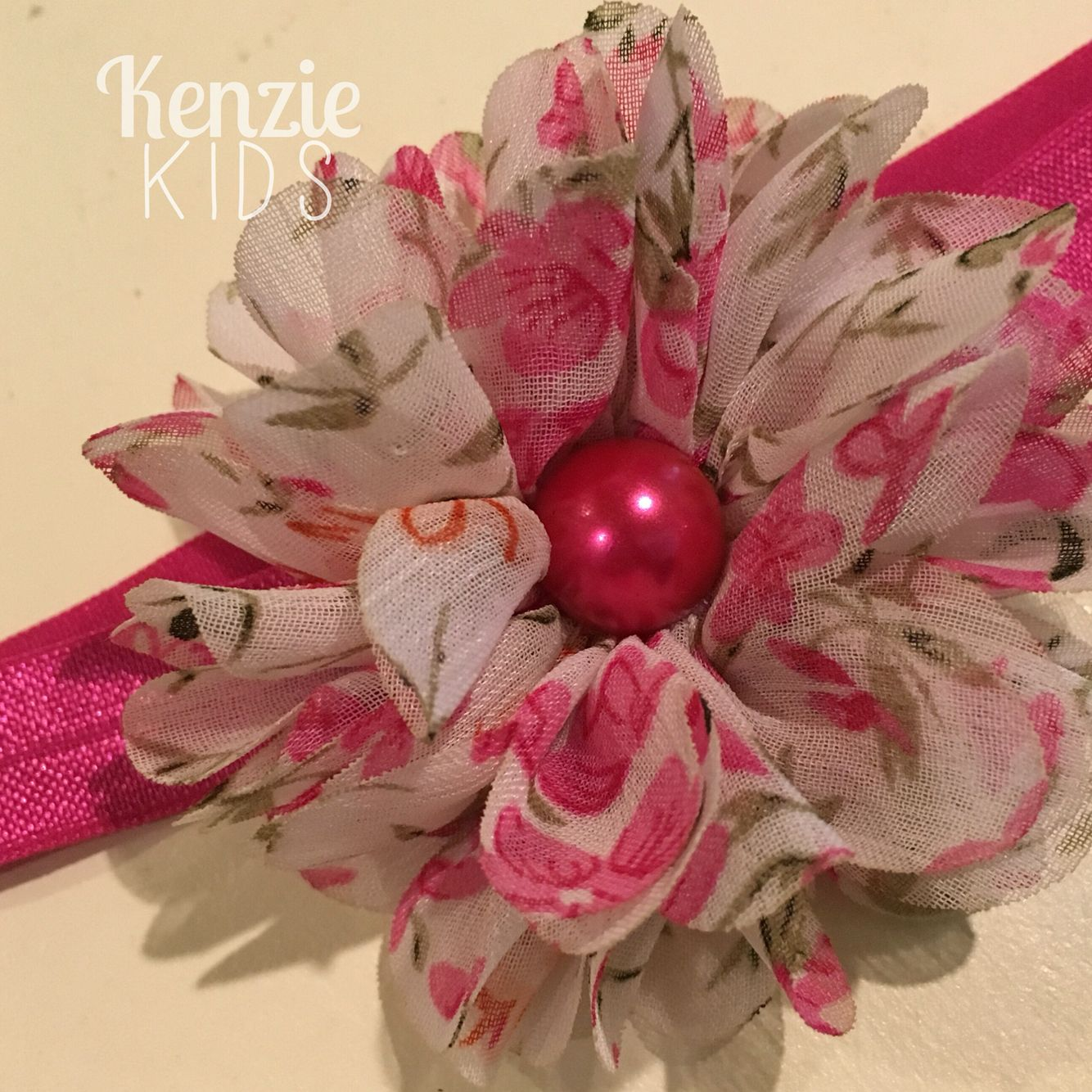 Pink floral headband by Kenzie Kids Boutique