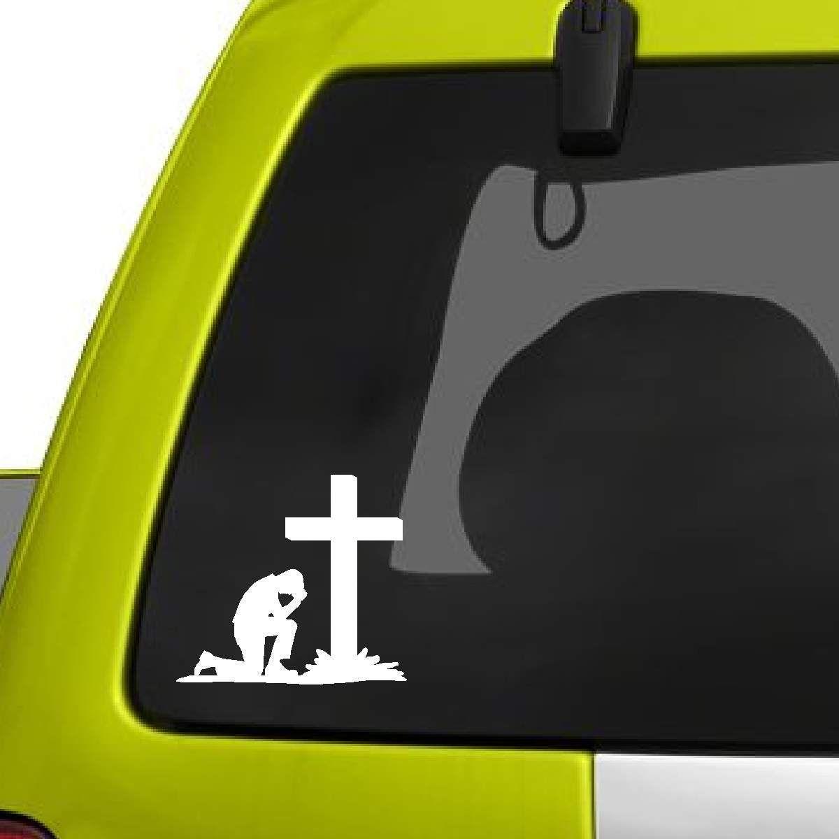 Man Praying At Cross Decal Girl Decals Truck Window Stickers Decal Design [ 1200 x 1200 Pixel ]