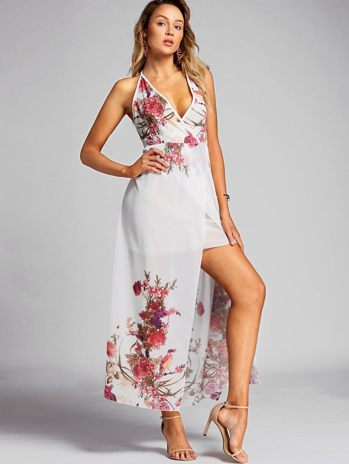 784c7cd5c1f5d Floral Print Halter Chiffon Dress in 2019 | Top Dresses | Chiffon ...