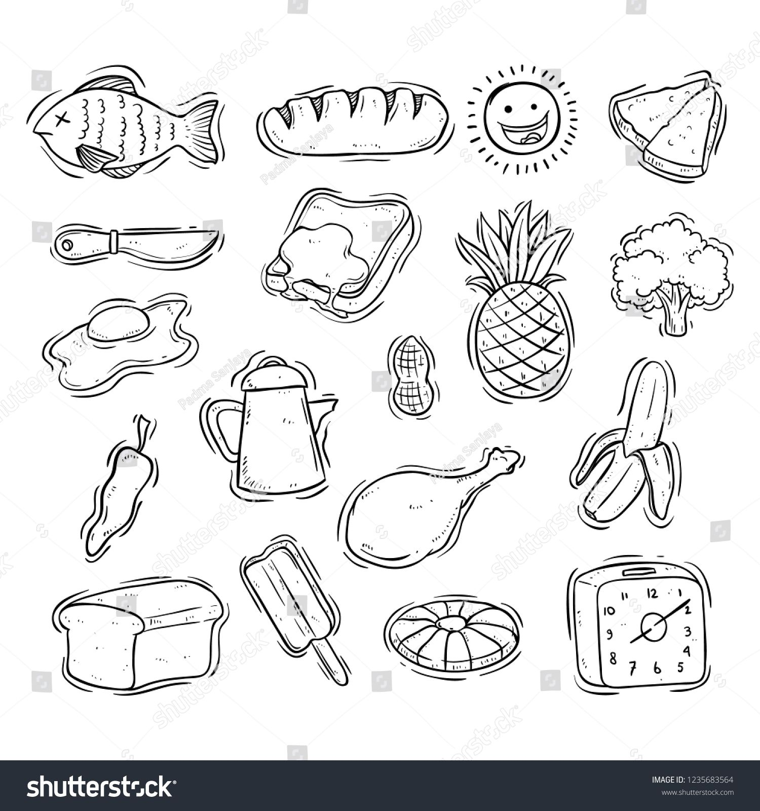 Collection Of Tasty Breakfast Food With Doodle Style On White Background Sponsored Affiliate Breakfast Food Collecti Food Doodles Yummy Breakfast Doodles
