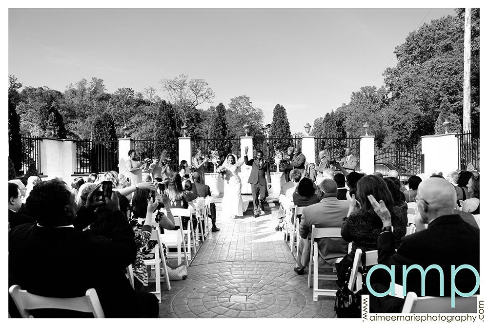 Wedding ceremony outside in the Gold Ballroom Courtyard