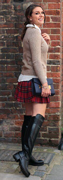 Schoolgirl Style Tan Sweater Tartan Skirt Black Otk Boots