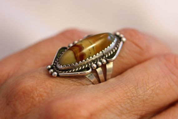 Natural Agate Gemstone Silver Statement Ring Marquis by gemforjoy