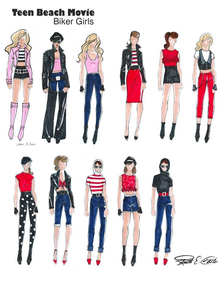 Teen Beach Movie Fashion Sketches Of Biker Girls