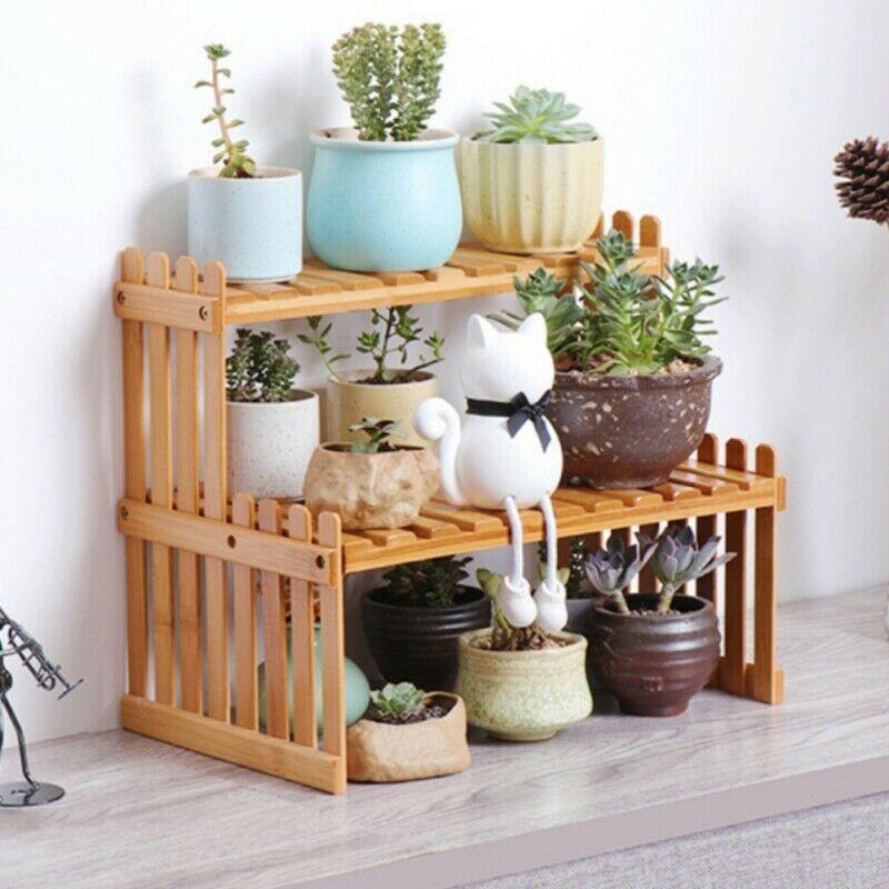 1 2 Tiers Bamboo Wooden Plant Flower Pot Stand Shelf Planter Holder Home Decor Plant Holder Ideas Of Plant Holder P Plant Shelves Garden Rack Bamboo Shelf