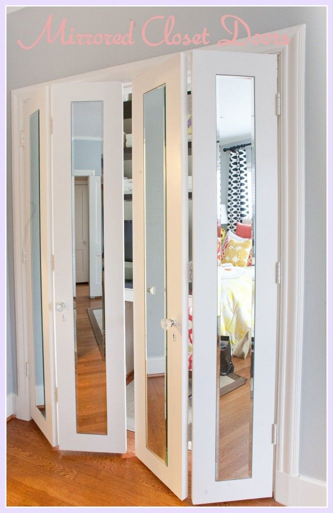 Bedroom, : Bifold Double Door Mirrored Closet With Vintage White For Master  Bedroom Closet Ideas