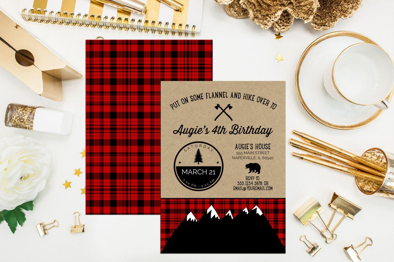 Lumberjack Birthday Invitation. Digital Printable Camping Birthday ...