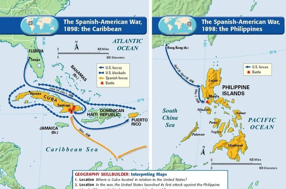 Spanish American War Philippines Map.1898 Spanish American War Maps Social Studies Mapping