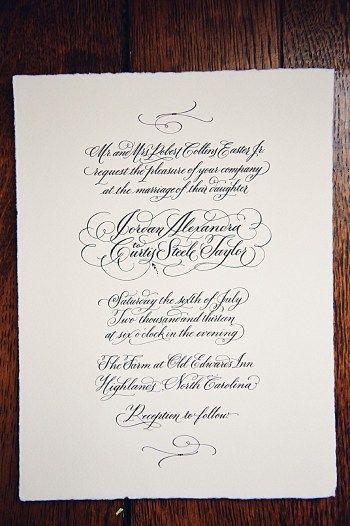 classic calligraphy invitation by Emily Canter