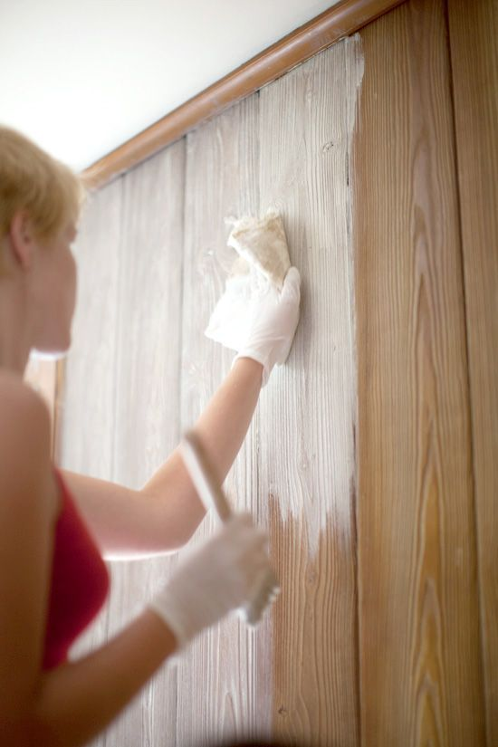 How To Whitewash Mix Solution Equal Parts Of White Paint Water Cover A Small Section Of The Paneli Painting Wood Paneling Paneling Makeover Wood Panel Walls