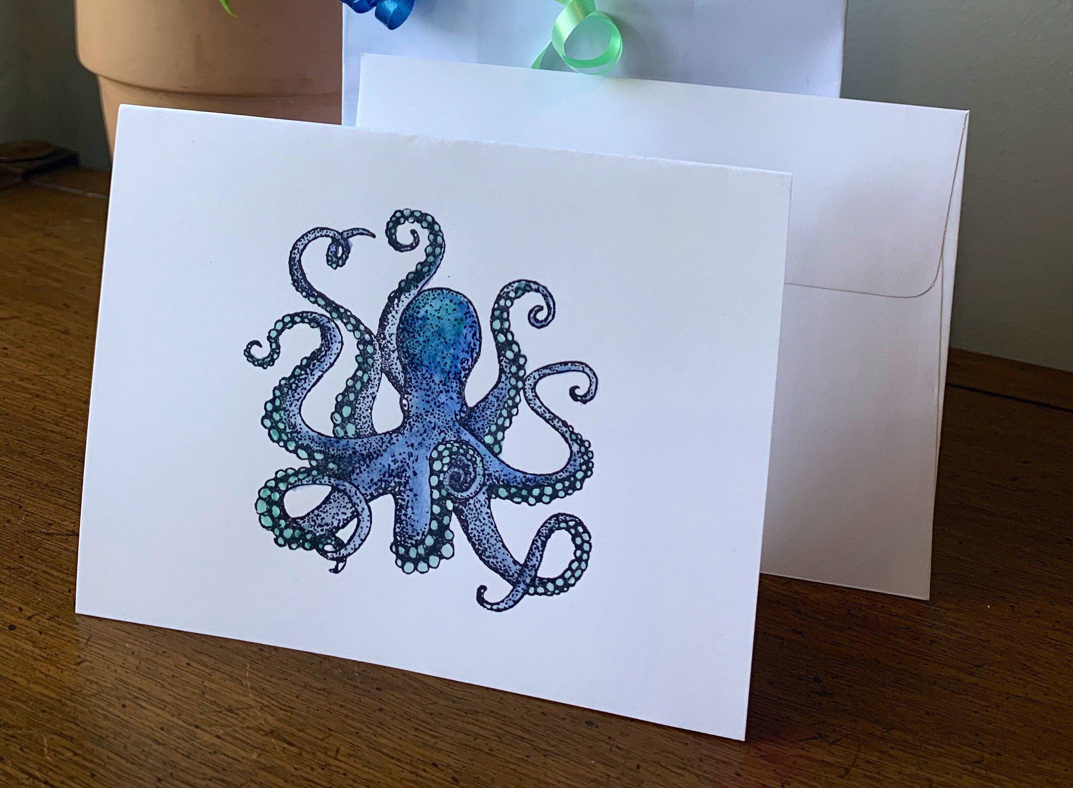 Unique 4 In X 6 In Blank Note Cards With Envelopes Octopus