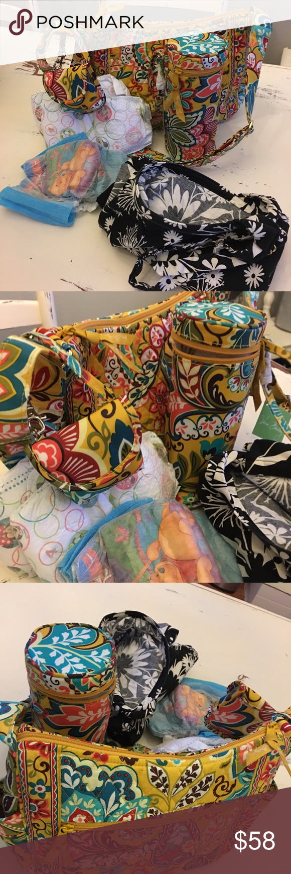 Vera Bradley/bag and bottle caddy and pacifier pod BUNDLE ❗️GREAT DEAL‼️Vera Bradley diaper bag no tag but new.,with baby bottle caddy and pacifier pod. Vera Bradley Bags Baby Bags