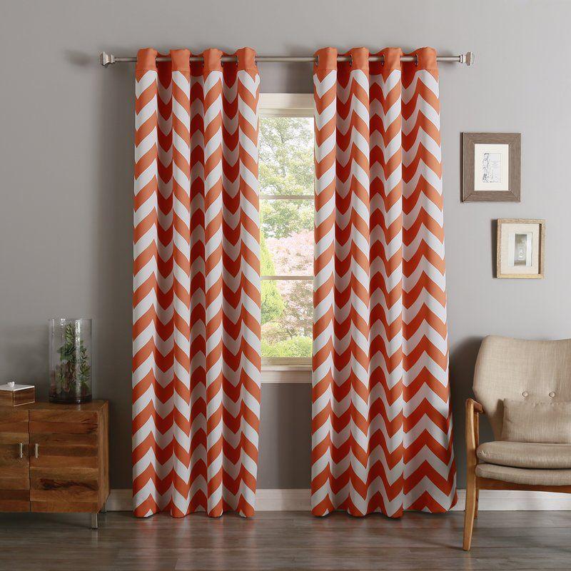 Alondra Chevron Room Darkening Grommet Curtain Panel Panel Curtains Stylish Curtains Grommet Top Curtains