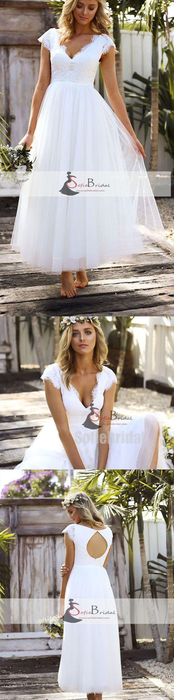 Cap sleeve vneck long aline lace tulle wedding dresses open back