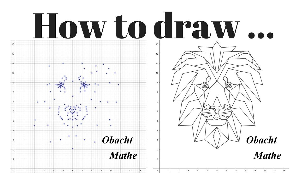 HOW to DRAW a LION (head)   geometric   step by step   paint by numbers   Malen nach Zahlen