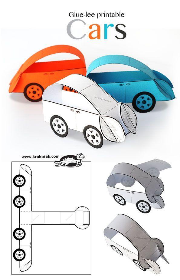 Glue-lee printable CARS Crafts for kids Pinterest Cars - printable car template