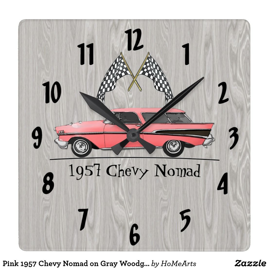 Pink 1957 Chevy Nomad On Gray Woodgrain Square Wall Clock Clock Wall Clock Square Wall Clock
